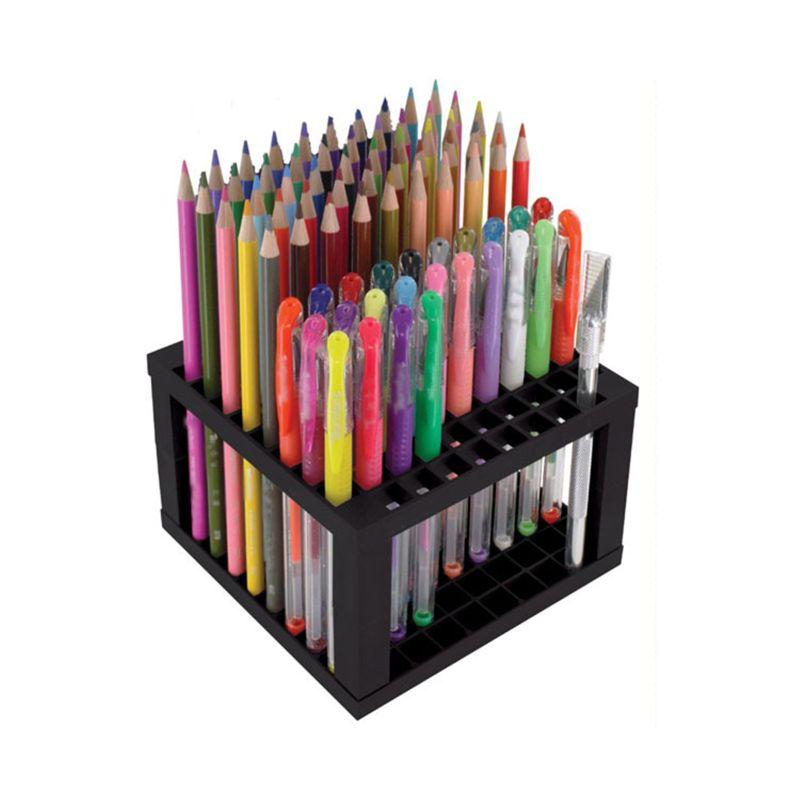 Portalápices y portalápices de 96 agujeros organizador de soporte de escritorio estante de sujeción para bolígrafos, pinceles de pintura, lápices de colores, marcadores, cepillos L29K