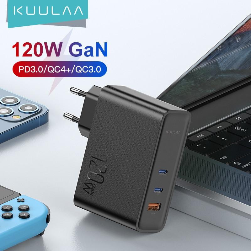 KUULAA 120 واط غان USB C شاحن سريع تهمة 4.0 3.0 QC نوع C PD سريع USB شاحن ل ماك بوك برو باد آيفون سامسونج شاومي