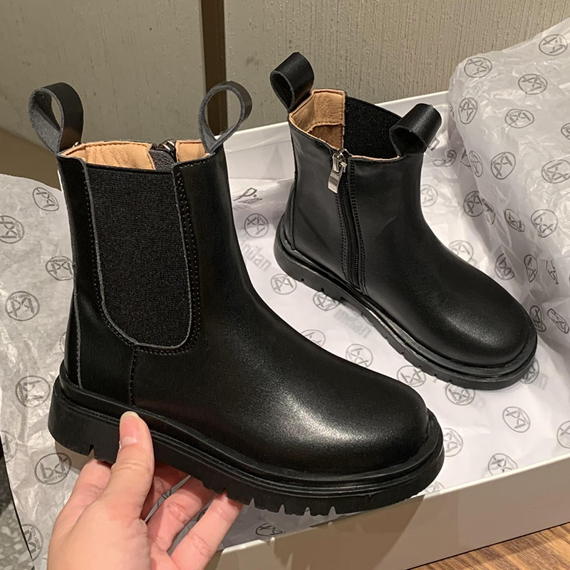 Girls' short boots winter 2020 new children's boots leather chimney boots kids shoes for girl  little girl boots  snow boots enlarge