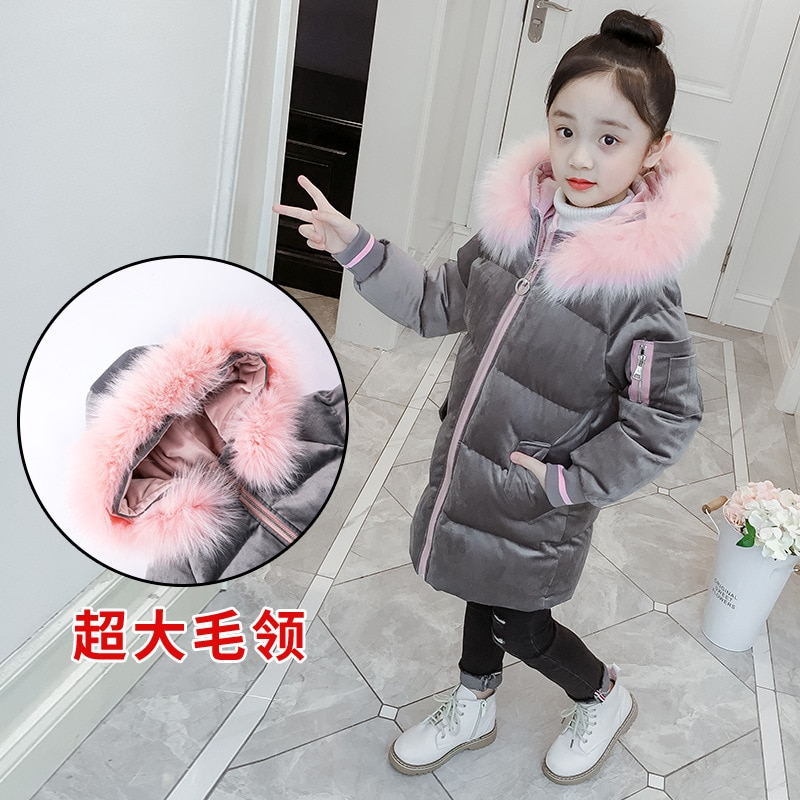 Girls Pleuche Quilted Cotton Cloth  Winter Clothes Big Children's Western Style Cotton-Padded Clothes Children's Girl's  Jacket enlarge
