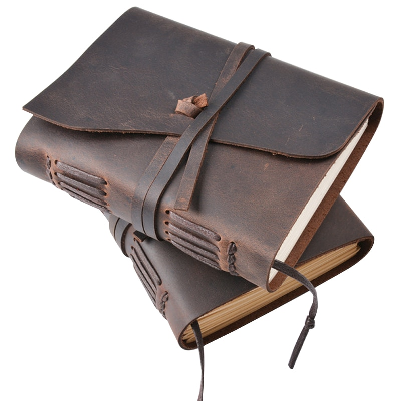 Real Cowhide Cover Notebook Handmade Retro Leather Rope Note Book Blank Kraft Paper Notepad Portable Travel Supplies Gift
