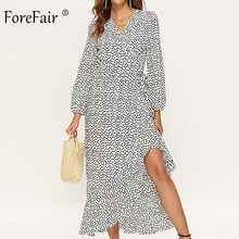 Forefair Polka Dot Maxi Sexy Wrap Dress Women 2019 Long Sleeve Black Yellow White Sashes Tied Plus Size Ruffle Casual Dress