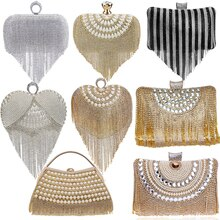 GLOIG Fashion women tassel evening bags diamonds beaded clutch wedding purse shoulder party laides c