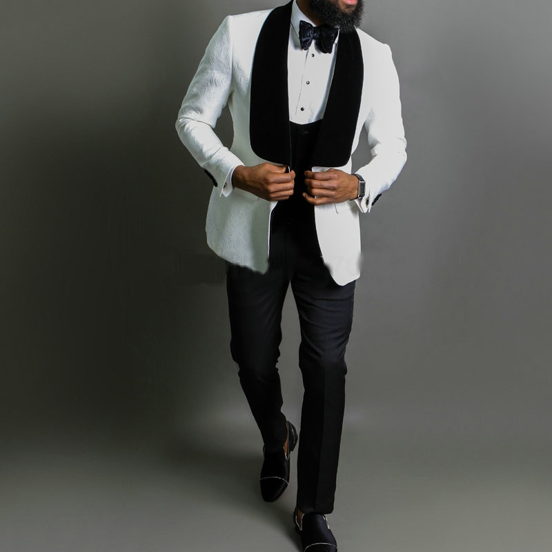 2020 White Jacquard Jacket Men Suit Slim Fit Wedding Tuxedo Custom Made Wedding Groom Party Suits Costume Homme Best Man Blazer