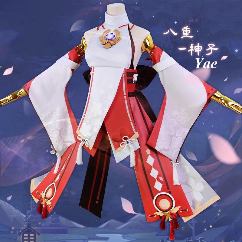 أنيمي! بدلة ألعاب من جينشين إمباكت ياي ميكوفوكو زي تنكري أنيق ملابس حفلات الهالوين ملابس نسائية جديدة 2021