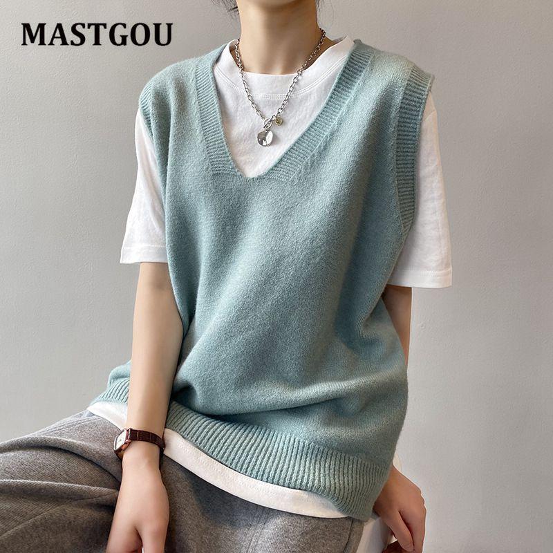 MASTGOU V Neck Knitted Vest Women's Sweater Spring Autumn Oversized Loose Wild Sweater Vest Sleeveless Pullover Sweater Pull