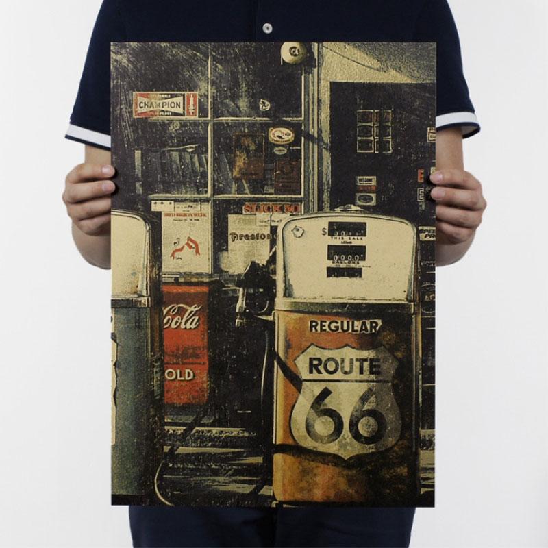 Aimeer us route 66 posto de gasolina/retro nostálgico kraft cartaz/bar café decoração para casa pintura 51x36cm