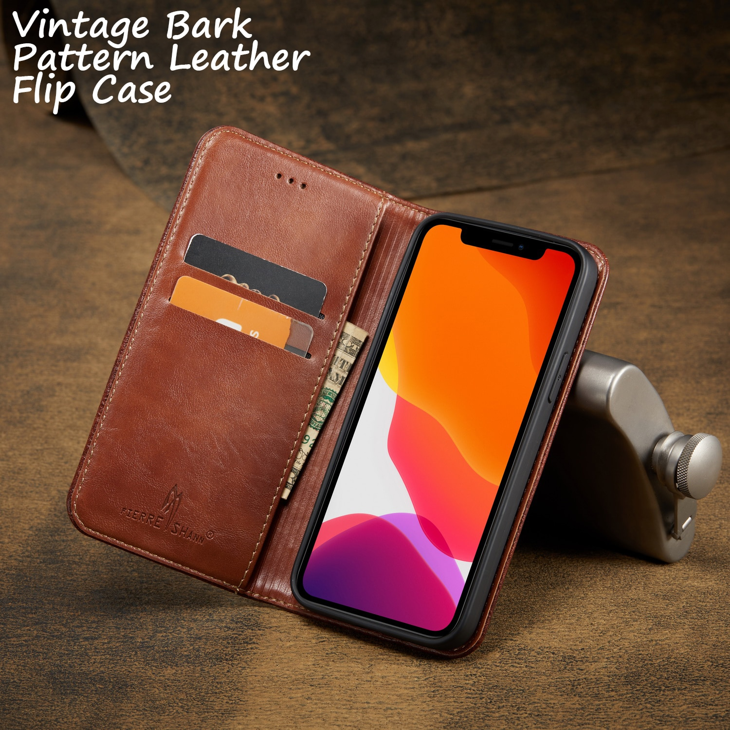 Vintage Bark Pattern Leather Flip Case For iPhone 11 12 Pro Max Mini 7 8 Plus XR X XS MAX Wallet Coque Cover