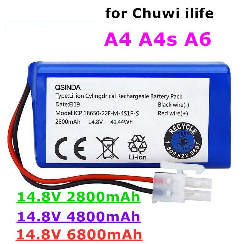Rechargeable ILIFE Battery 14.8V 6800mAh robotic vacuum cleaner accessories parts for Chuwi ilife A4 A4s A6