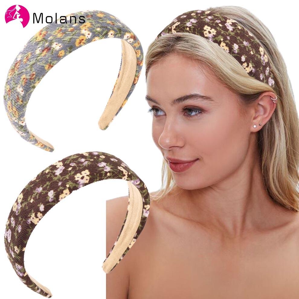 Molans New Women Hairbands Soft Print Headbands Vintage Floral Elastic Hair Bands Girls Hair Hoop Headwraps Hair Accessories