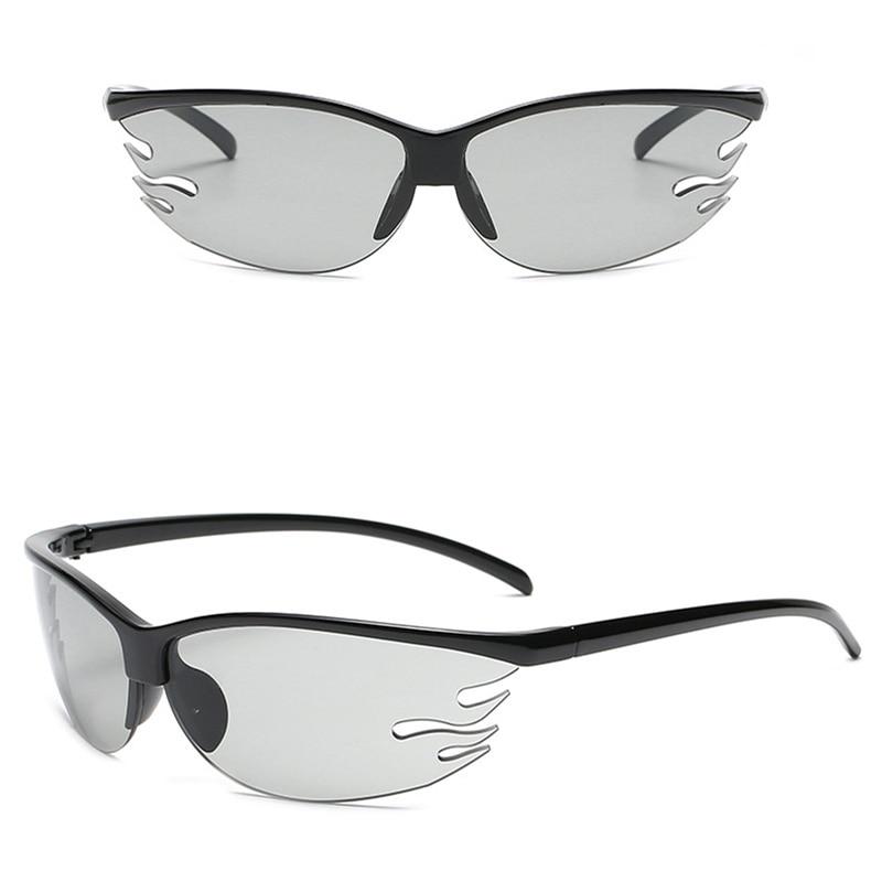 Fashion Semi-Rimless Flame Shape Sunglasses Women Retro Candy Color Eyewear Men Outdoor Sports Drivi