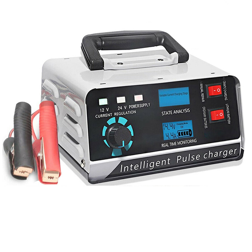 intelligent full automatic car battery charger 12v 10a 24v 7a pulse repair motorcycle scooter battery charger for acid lithium Motorcycle Smart Battery Charger 12V/24V Automotive Battery Charger 400W 40A Trickle Smart Pulse Repair For Car Truck Boat