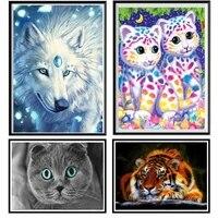 5d diy diamond painting full diamond cat animal diamond embroidery tiger wall sticker handmade cross stitch mosaic gift