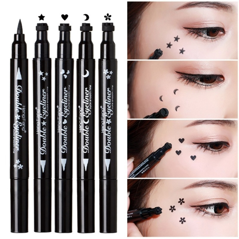 Delineador de ojos negro de doble cabeza de 4 estilos que no florece impermeable de secado rápido Luna estrella flor corazón sello con caja cosmética