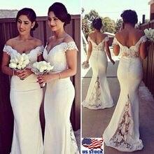 Sexy mode femmes formel blanc mariage demoiselle dhonneur sans manches longue fête bal robe de bal hors épaule parole longueur robe