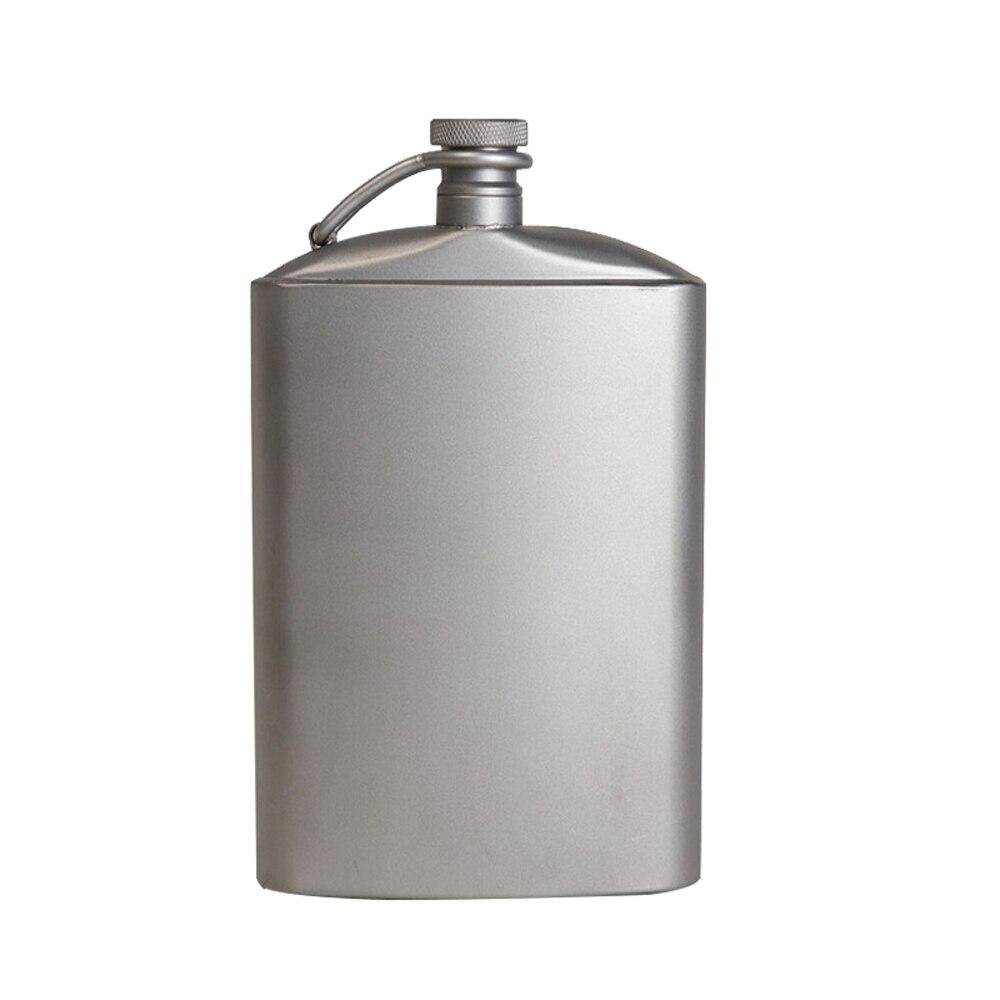 Petaca de titanio con tapón de rosca para vino, botella plana de hidratación ultraligera con embudo Ti para senderismo al aire libre