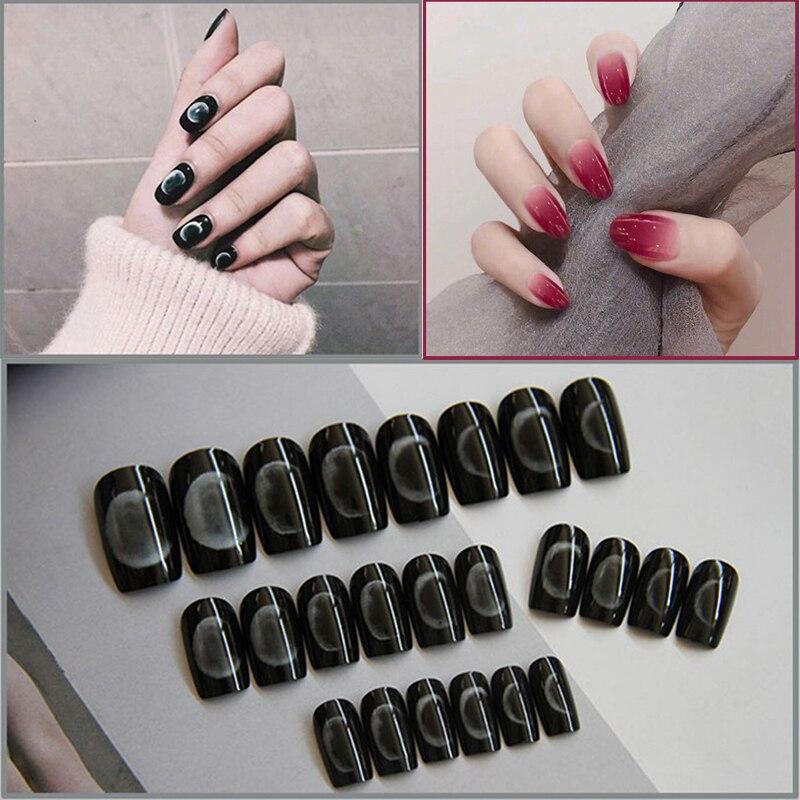 24 Uds falso desmontable Nail Artificial Tips Set cubierta completa para decoración corta Prensa en uñas arte falso extensión consejos con pegamento