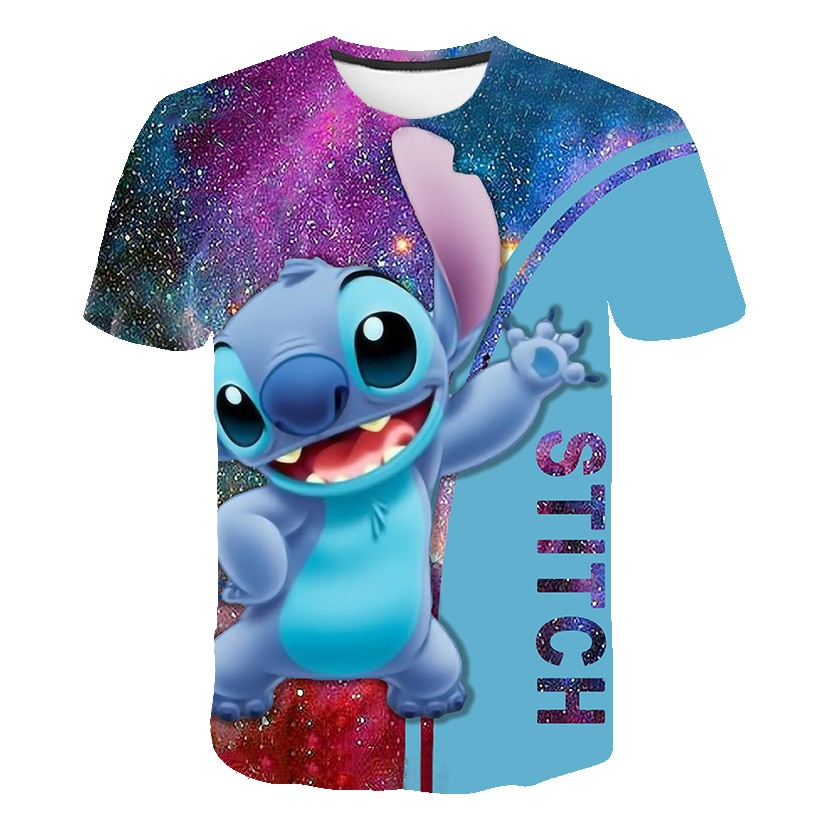 Lilo Stitch boys T shirts kids 3D Babys Kawaii funny Cartoon girls T-Shirt Lovely Casual clothes Cute Streetwear Tops tees 2020