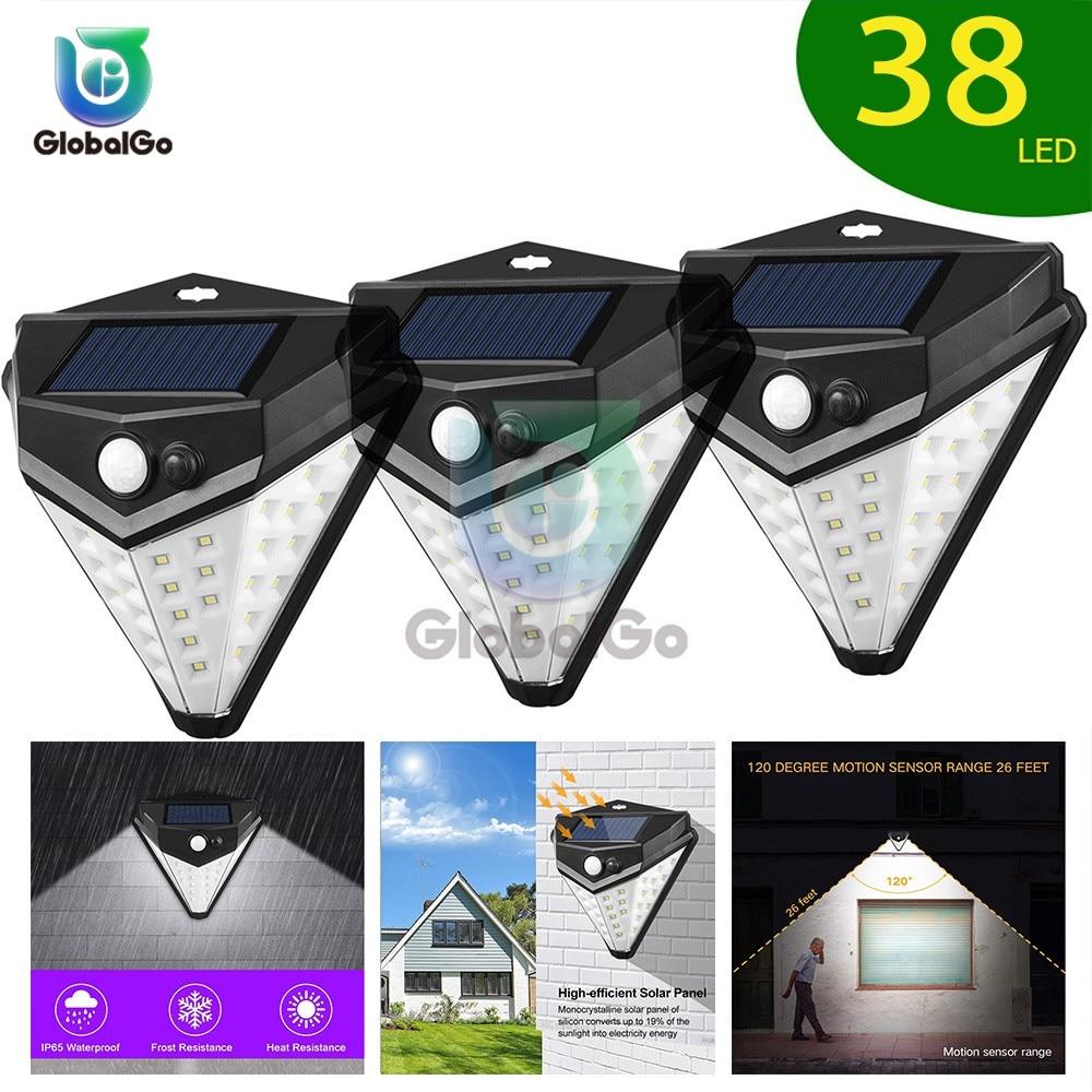 38 luces LED solares para exteriores, luces LED, guirnalda navideña para fiestas, guirnalda Solar para jardín, Sensor de luz por movimiento PIR resistente al agua
