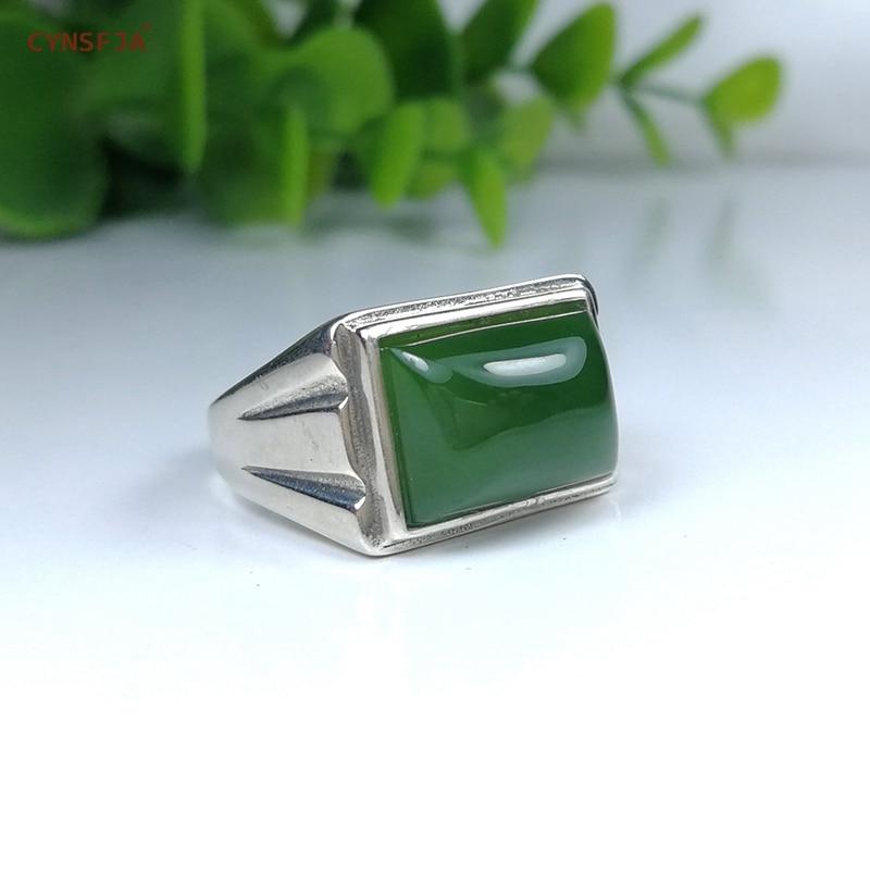 CYNSFJA Echt Zertifiziert Natürliche Hetian Jade Jasper 925 Sterling Silber Glück männer Amulette Grün Jade Ring Hohe Qualität Resizable