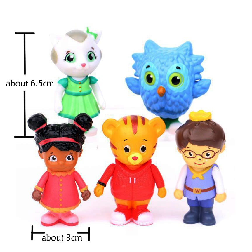 5pcs/set Anime Cartoon Daniel Tiger Family PVC Action Figure Toys Prince Elaina Owl Katerina Collect For Kids Christmas Gift