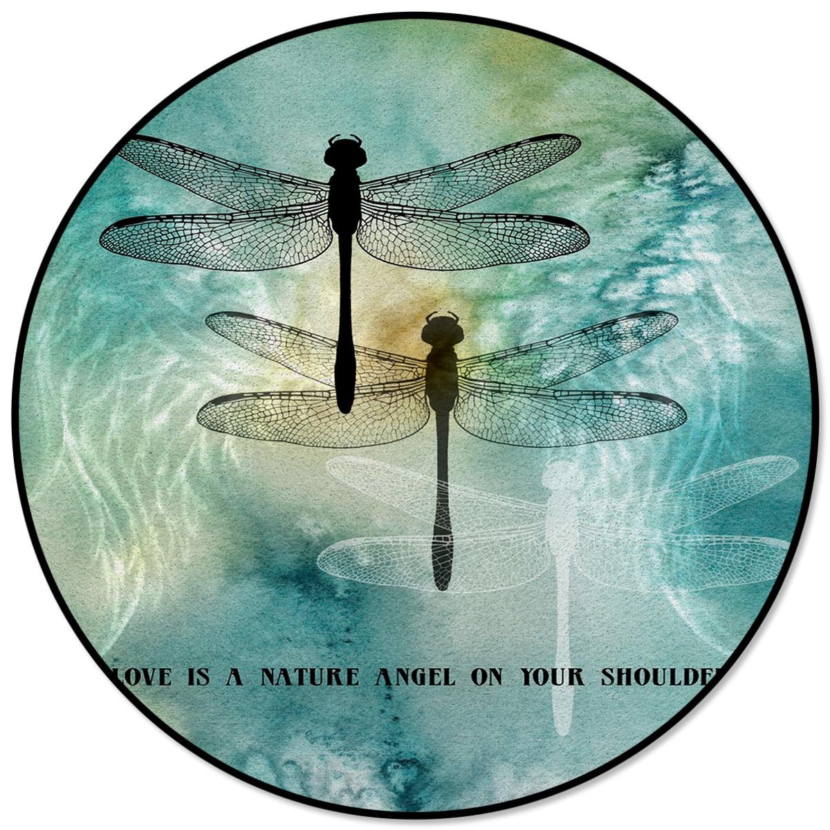 Tapete redondo asas de libélula tinta amor é um anjo natural em seu ombro super macio dia de natal restaurante esteira tapetes