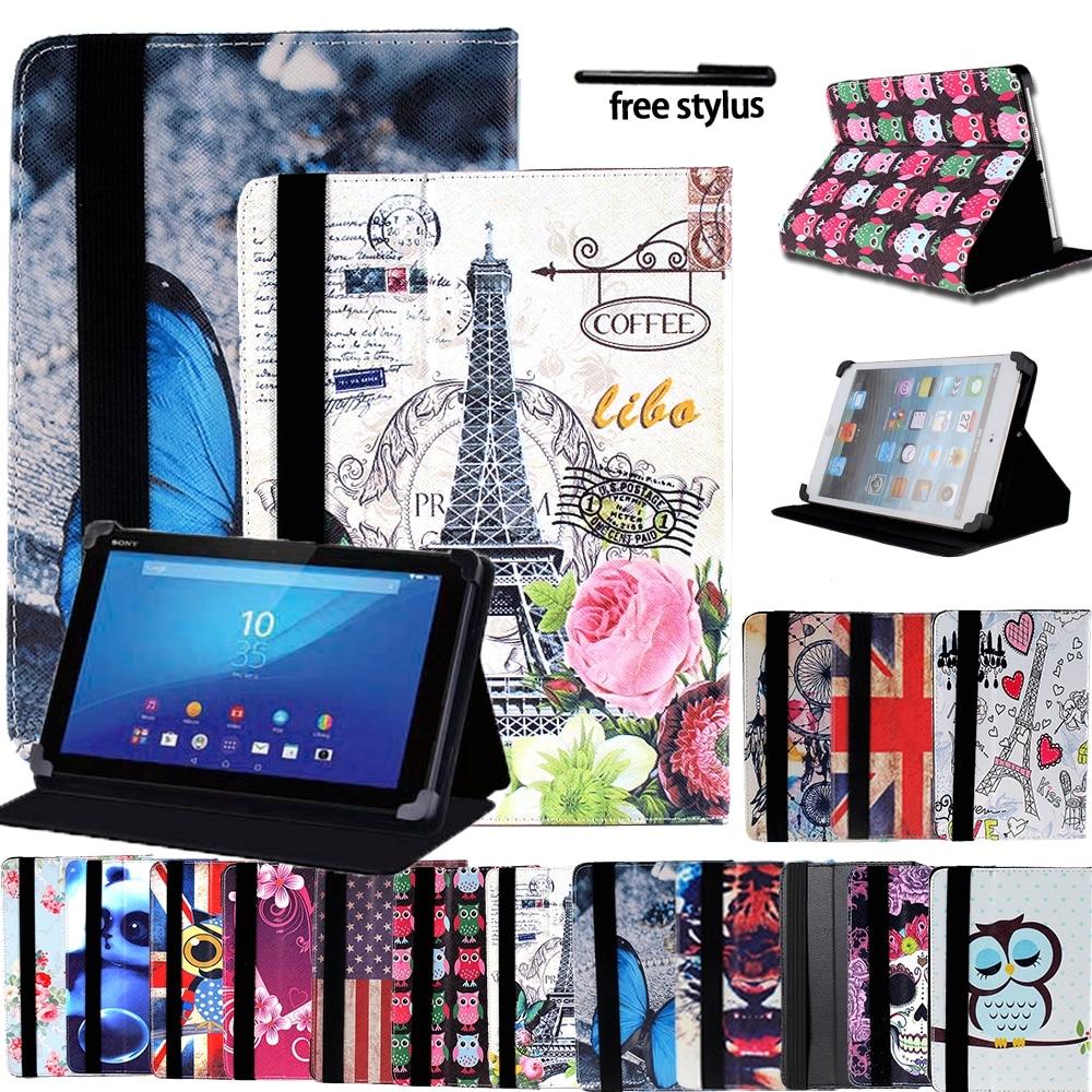"Universal tablet estojo para 8 ""/10.1"" sony xperia z3/z4 ultra-fino couro anti-choque tablet suporte de couro dobrável capa + stylus"
