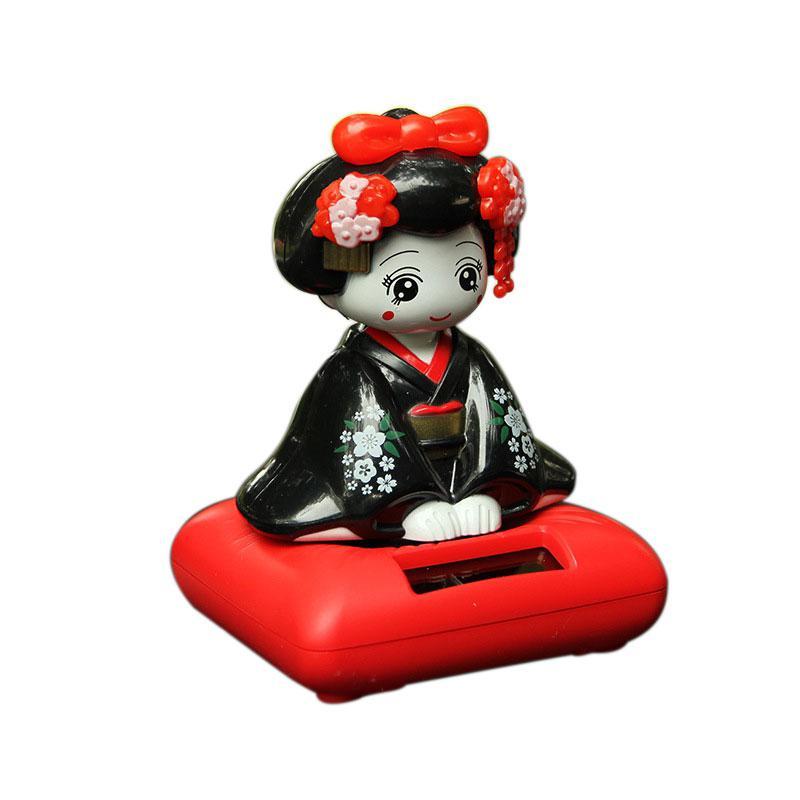 Kuulee figura de juguete Cabezón alimentada por energía Solar Nohohon, Kimono japonés Maiko Geisha artículos de decoración del hogar del coche