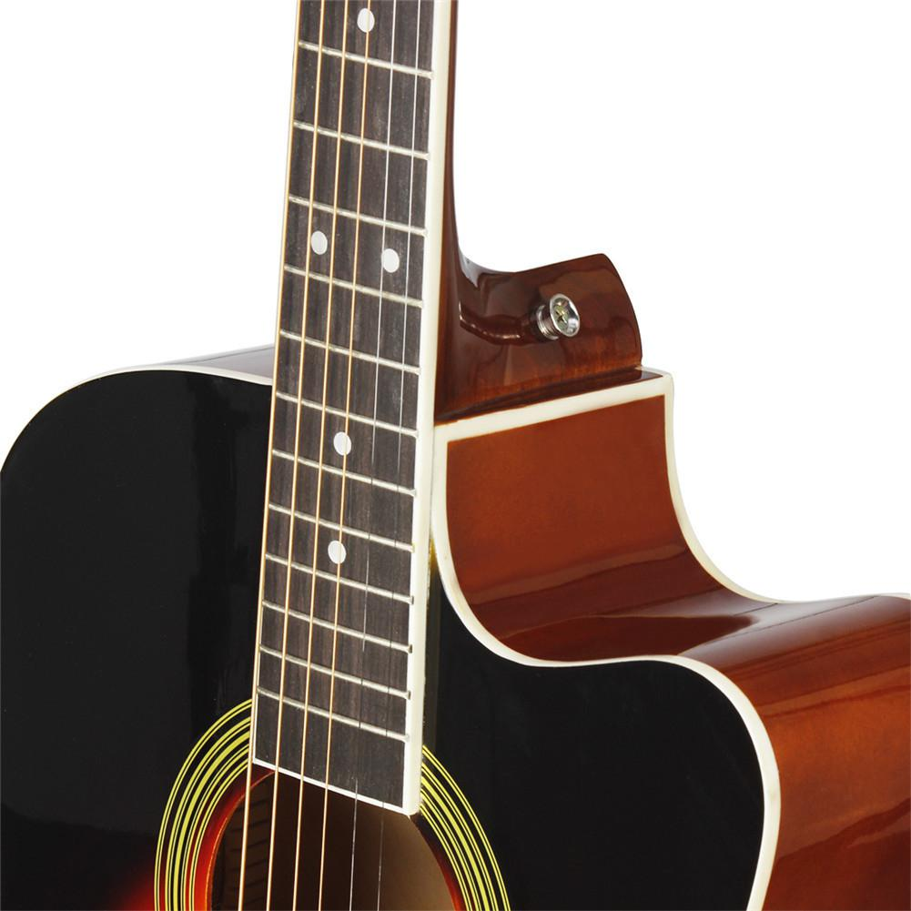 BassWood Guitar Cutaway Acoustic Guitar Wooden Fingerboard Include Bag Strap String Pick Six-hole Tuning Flute Capo Wrenc enlarge