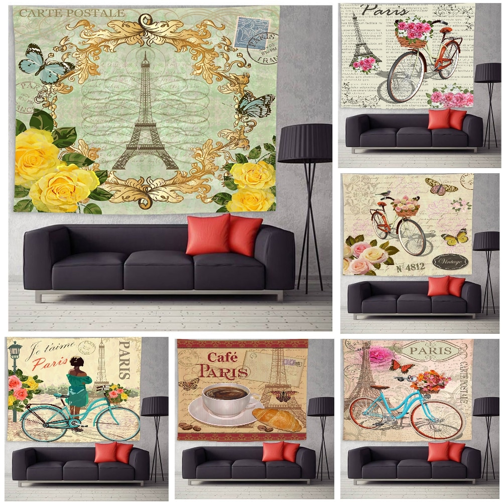 Retro Tapestry Landscape France Tower Eiffel Home Decor Tapestry Wall Hanging for Living Room Bedroom Dorm eiffel tower round wood analog wall clock