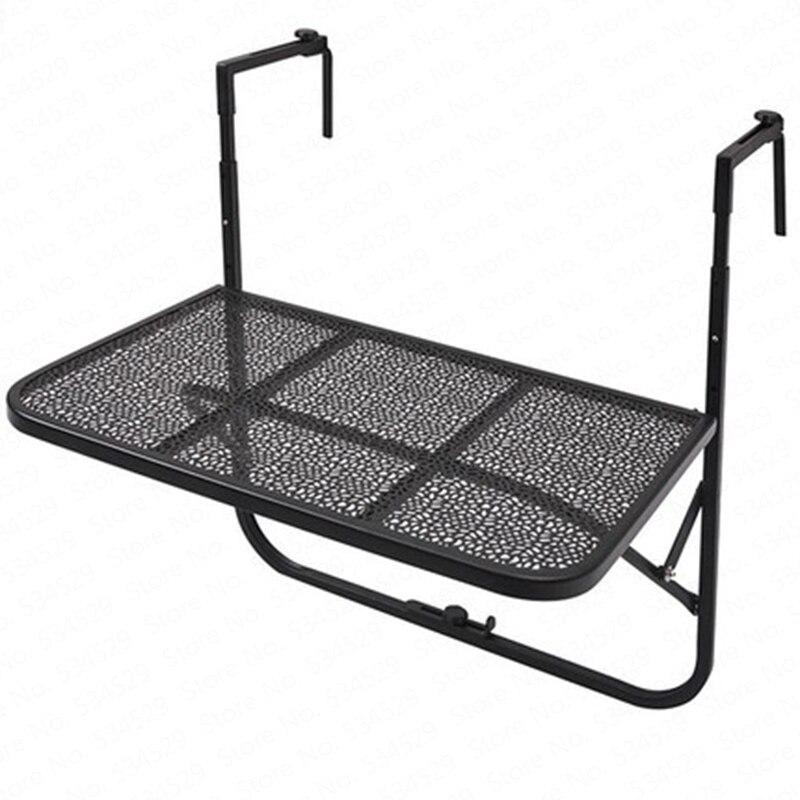 Balcón Metal mesa de barandillas de hierro forjado jardín colgante mesa que se dobla Simple europeo Mini colgante de pared de