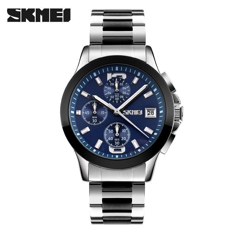 Multifuncional com Calendário de Três Relógio de Negócios Discos Lazer Masculino Ying Aço Tira Relógio Skmei9126 Shi