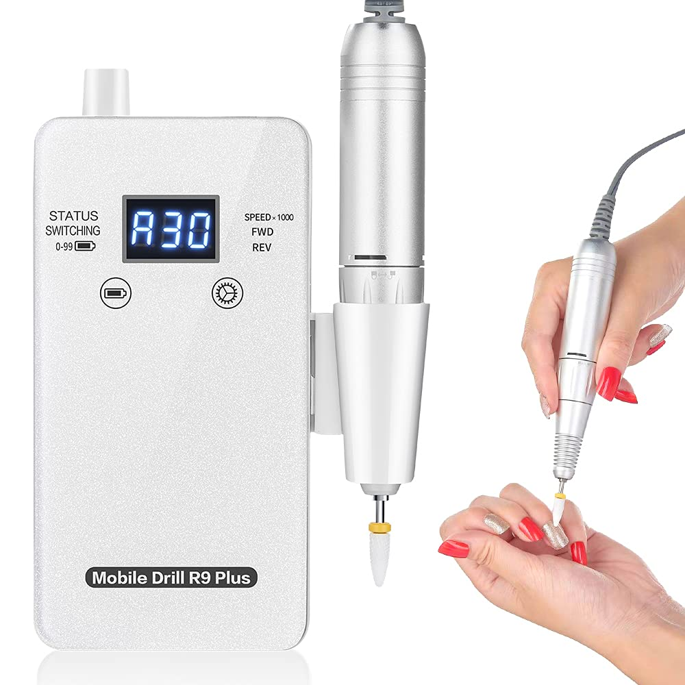 Professional Nail Drill Machine 30000 RPM Rechargeable Nail Drill for Acrylic Nails Portable Electric Efile Nail Drill for Nails