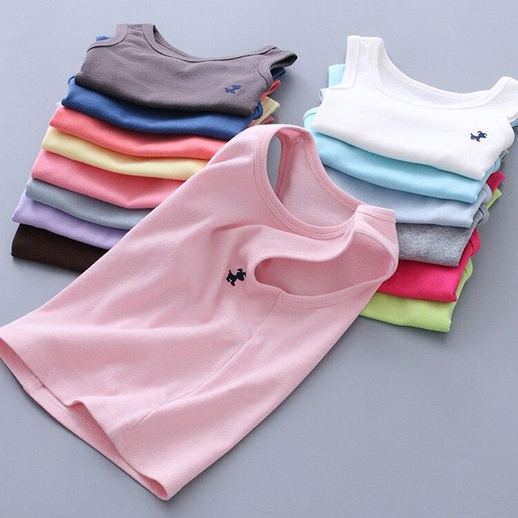 Summer Children Shirts For Girls Kids Underwear Solid Model Cotton Boys Undershirt Toddler Vest Baby tank T-shirt Cartoon Tops