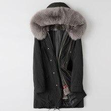 5XL Parka Heren Winter Jas Lange Jassen Hooded Sneeuw Bovenkleding Mannelijke Real Fox Bontkraag Mink Fur Liner Afneembare Windjack