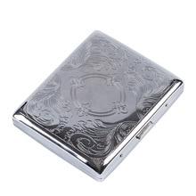1pcs Silver Portable Metal Cigarette Case for 20 Cigarettes Flip Open Cigarette Storage Box Holder Travel Outdoor Smoking Tools
