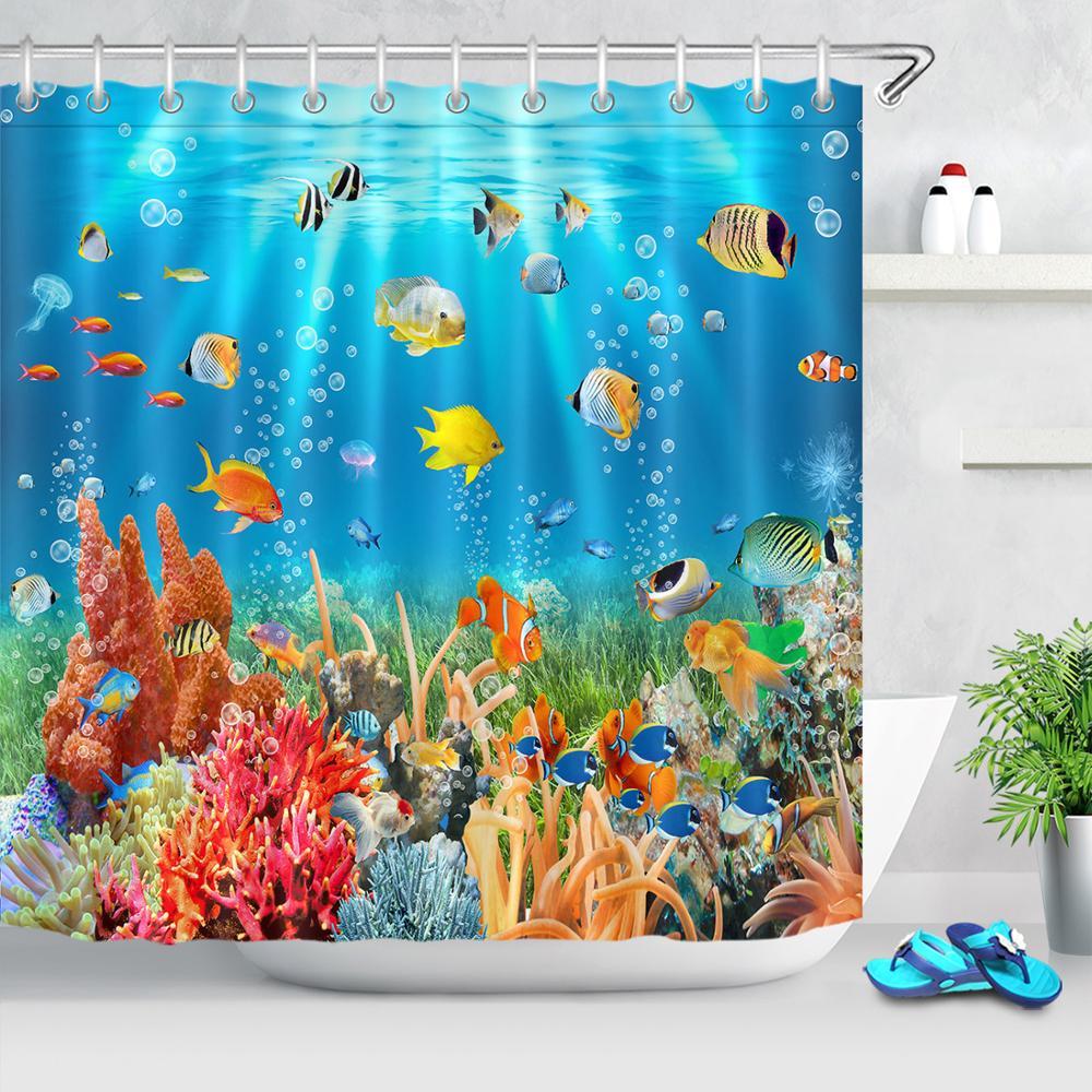 Cortinas de ducha oceánica, vida marina, peces tropicales coloridos, corales, arrecifes, cortina de baño, Submarino para baño con ganchos