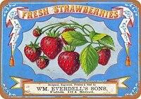 Decor mural retro Vintage 8x12  signe de fraises fraiches  baies  Fruits amusants  legumes  nourriture douce  decor mural dete  868