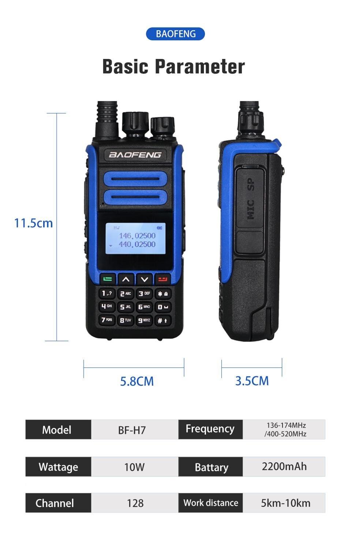 2 pcs Original best power BaoFeng BF H7 Blue Walkie Talkie Ham CB Radio Station Dual Band Transceiver BFH7 10KM Hunting Intercom enlarge