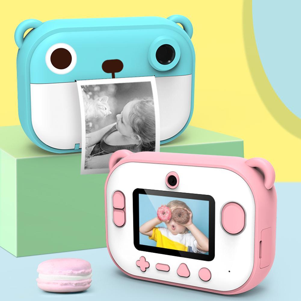 Mini cámara Digital para niños de 2,4 pulgadas Set de 1080P DIY foto de impresión videocámara niños cabeza grande pegatina