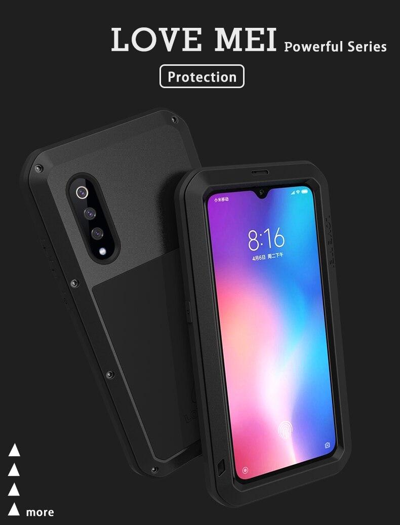 غطاء درع معدني لـ Xiaomi Mi 9/Xiaomi Mi9 ، LOVE MEI ، مقاوم للصدمات والأوساخ ، مقاوم للماء ، 6.39 بوصة