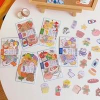 cartoon kawaii bear sticker creative mobile phone decoration material sticker transparent decoration cute student stationery