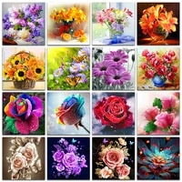 full square and round drill 5d diy diamond painting colored flowers 3d embroidery cross stitch 5d home decor gif
