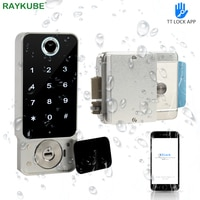 RAYKUBE Fingerprint Door Lock Waterproof Outdoor Gate Bluetooth TT Lock Wifi Passcode IC Card Keyless Enter Electronic Lock W5