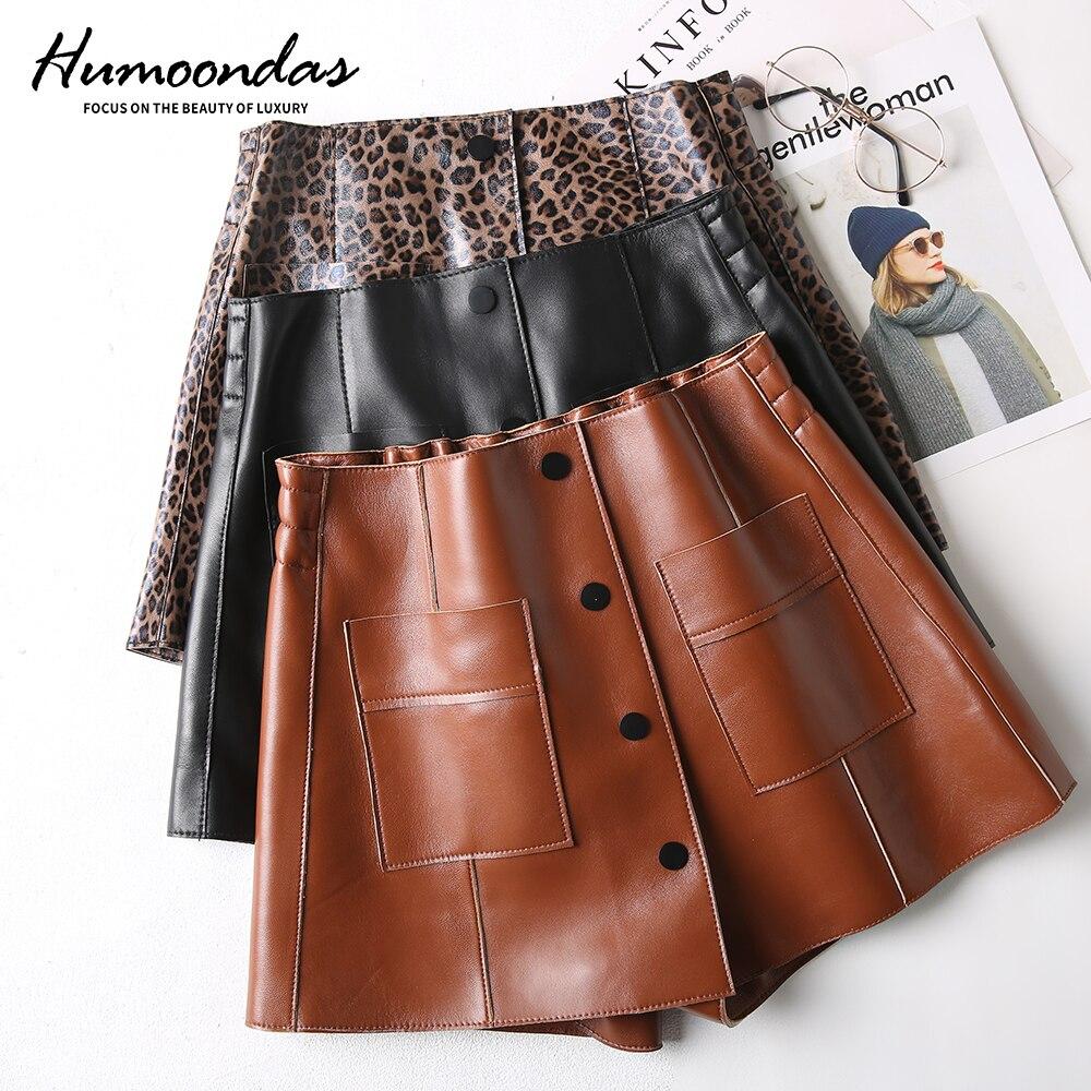 Saia Top Genuine Leather Solid Skirts Womens Women's Leather Short Skirt Sheepskin 2020 New Autumn And Winter Women High Waist