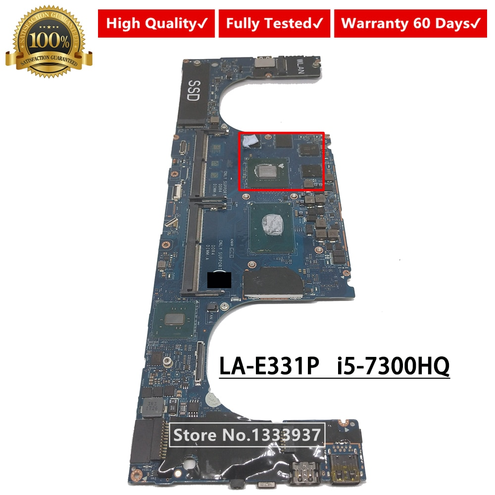 Placa base para ordenador portátil CAM00/01 LA-E331P para DELL XPS 9560 i5-7300HQ SR32S GTX 1050