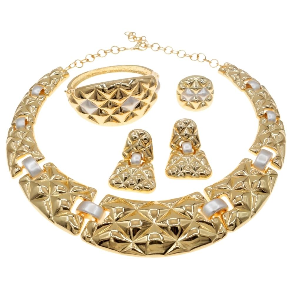 Newest Brazilian Gold Jewelry Set Woman Necklace Ring Bracelet Earring New  Wedding Jewelry H0017
