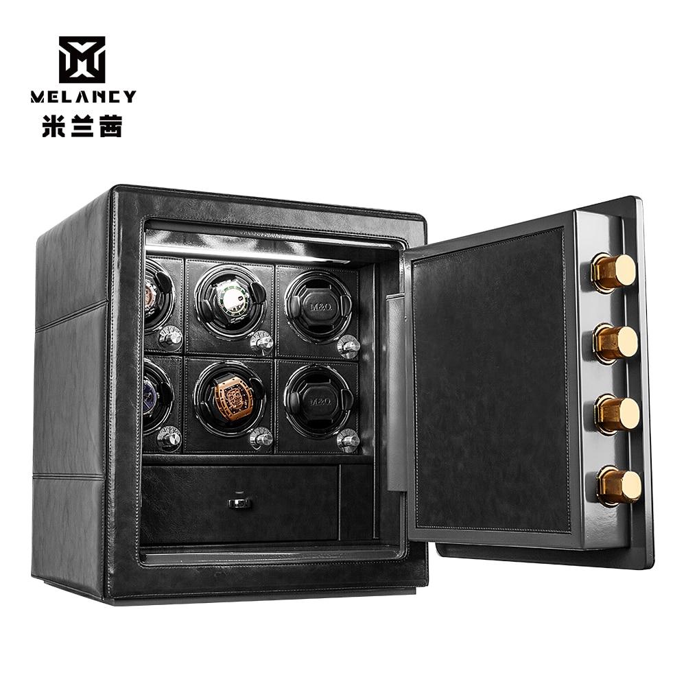 MELANCY Automatic Watch Winder Safe Carbon Fiber Mechanical Watch Winding Box Quiet Motor Watches Storage Display Case Box
