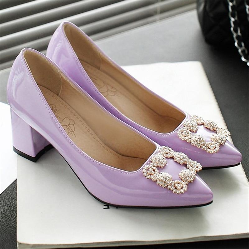 Zapatos de tacón de bloque, zapatos de tacón alto con punta estrecha para mujer, zapatos de Primavera de charol para boda, zapatos de fiesta de trabajo de oficina, negro violeta