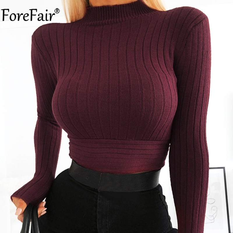 Forefair Turtleneck Long Sleeve White Short Top Bandage Women Autumn Winter Casual Sexy Elegant Crop T Shirt Lady Slim Clothes